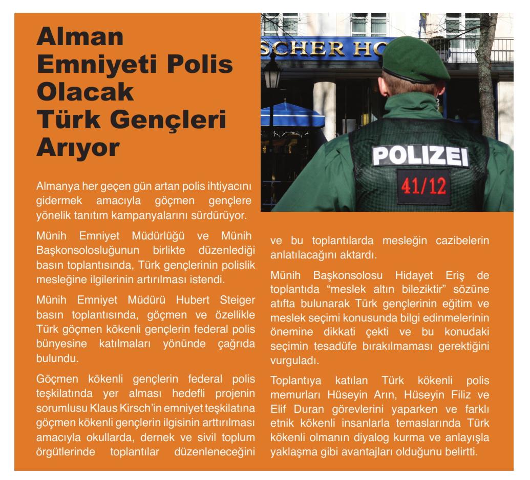 Alman Emniyeti Polis Olacak Türk Gençleri Arıyor